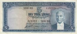 BANCONOTA TURCHIA 5 LIRE EF (KP1798 - Repubblica Ceca