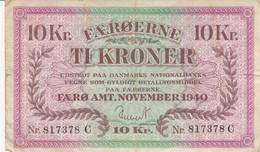 BANCONOTA 10 CORONE FAROER 1940 XF (KP1812 - Faeroër