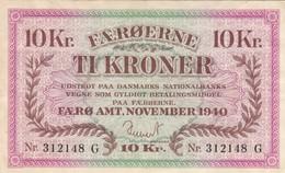 BANCONOTA 10 CORONE FAROER 1940 XF (KP1813 - Faeroër