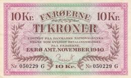 BANCONOTA 10 CORONE FAROER 1940 AUNC (KP1814 - Faeroër