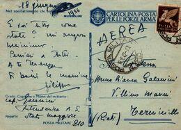 "Storia Postale-"" CARTOLINA POSTALE PER LE FORZE ARMATE-Posta Aerea 18-6-1942-n°210 - Verzamelingen"