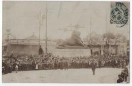 CARTE PHOTO PARIS 14 ème : FETE DU LION DE BELFORT - MANEGES - FETE FORAINE - AVENUE D'ORLEANS - ECRITE 1906 -z R/V Z- - Arrondissement: 14