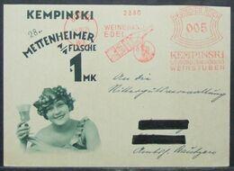 Germany - Meter Franking Card 1929 Wine Edel Kempinski - Wijn & Sterke Drank