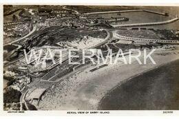 BARRY ISLAND AERIAL VIEW OLD R/P POSTCARD WALES AEROFILMS - Glamorgan