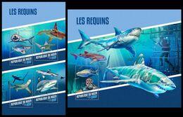 NIGER 2018 - Sharks, Diving - YT CV=39 €, 4489-92 + BF833 - Tauchen