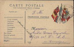 Guerre 14 CP FM Franchise Drapeaux France Royaume-Uni Belgique Russie Serbie Italie Japon CAD Poste Militaire Belgique - Guerra 14 – 18