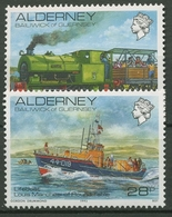Alderney 1993 Eisenbahn Lokomotive Seenot-Rettungsschiff 59/60 Postfrisch - Alderney