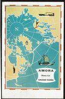 AMORA Dans Le Grand Nord - 1957 - Carte Itinéraire - Helsinki - Finlande - 2 Scans - Advertising