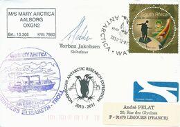 """Lettre """"M/S Mary Artica"""" Avec Timbre Afrique Du Sud Issu Du Bloc N°124 - Cachet Du 01/12/2010 - Polare Shiffe & Eisbrecher"""