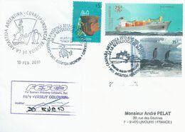 """Lettre """"M/V Vasiliy Golovnin"""" Avec Timbres Argentine N°2553, 2666 Et 2191 - Cachet Du 30/01/2010 - Polare Shiffe & Eisbrecher"""