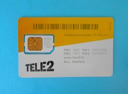 TELE2 ( Croatia GSM SIM Card With Chip ) * USED CARD ( Chip Fixed With Tape ) * Croatie Kroatien Croazia - Telecom Operators