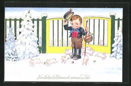 Künstler-AK John Wills: Kleiner Junge Steht Mit Glücksschweinen Am Gartentor, Glückwunsch Zum Neuen Jahr! - Wills, John