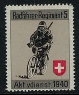 Suisse /Schweiz/Switzerland // Vignette Militaire // Radfahrer-cycliste, Régiment 5 - Poste Militaire