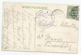 """N° 85 (type """"Germania"""" , 5 Pf Vert )  O   Sur Carte-vue (  Cologne) Vers Mamer  (Lux. / Cachet D'arrivée + Censure) - Cartas"""
