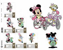 Ukraine 2020, Cycling, Moto, Disney Cartoon Characters, Sheetlet Of 6v - Ucrania