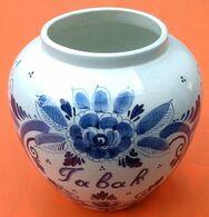 Pot à Tabac (Tabak) Ancien Faïence Blanche Décor Delft Bleu  Hauteur : 160mm - Autres
