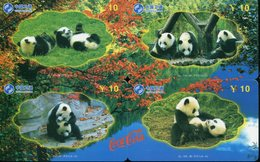 Puzzle De 4 Télécartes China Satcom : Panda (Coca Cola) - Puzzle
