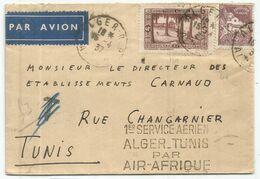 TUNISIE 40C+45C LETTRE AVION ALGER RP 15.4.1937 POUR TUNISIE GRIFFE 1ER SERVICE AERIEN ALGER TUNIS PAR AIR AFRIQUE - Tunesien (1888-1955)