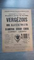 Arenes Beaucaire  Course Camarguaise, Taureaux Manade Blatière, Vergezois 1939 Camargue,cocarde, 22x31,5cm,tauromachie - Posters