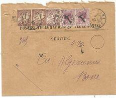 ALGERIE TAXE 1FRX2+50C MIXTE 10C VIOLET PAIRE SURCHARGE T SUR ENVELOPPE SERVICE BONE 9.12.1927 - Postage Due Covers