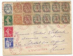 N°157A BLOC DE 8+4C+2CX2+1C N°278B+137+365  LETTRE C. PERLE ROUGE VALROS 5.3.1939 HERAULT - Marcofilia (sobres)