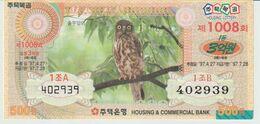 Corée Du Sud. South Korea..Chouette. Owl Billet De Loterie - Búhos, Lechuza