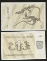Lithuania 1 Talonas  1991 Pick 32b  UNC - Lithuania