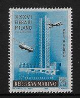 San Marino1958 Milan Fair 125l Airmail Mint Scott C97 Mi 589 Aviation - Nuovi