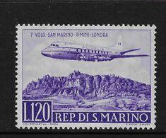 San Marino1959 First Flight Alitalia Rimini-London 120l Airmail Mint Scott C107 SG 576 Aeroplane - Nuovi