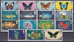 Salomoninseln Solomon Islands 1972 - Mi.Nr. 219 - 233 - Postfrisch MNH - Tiere Animals Fische Fishes Schmetterlinge - Solomoneilanden (1978-...)