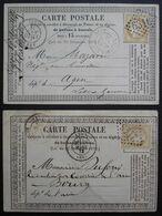Lyon GC 6316 Et 2145, Lot De Deux Cartes Précurseurs 1873 Et 1875 - 1849-1876: Periodo Classico