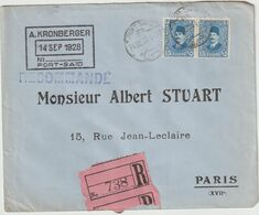 ESC Recommandée A. Kronberger 30 M. Port Saïd  -> France 1928 - Brieven En Documenten