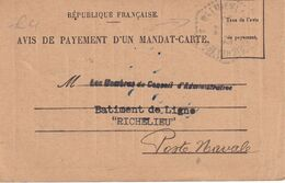 FRANCE 1945  AVIS DE PAIEMENT MANDAT CARTE DE TOULON CACHET BATIMENT DE LIGNE RICHELIEU - Schiffspost