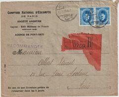 ESC Recommandée C.N.E. Paris 30 M. Port Saïd  -> France 1926 - Brieven En Documenten