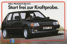 Peugeot 205 GTI,Werbekarte Peugeot, Ungelaufen - Turismo