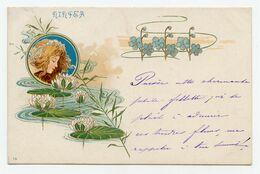 Illustrateur Non Signé.art Nouveau.style Mucha.superbe Jeune Fille Dans Un Médaillon,décor De Nénuphar. - 1900-1949
