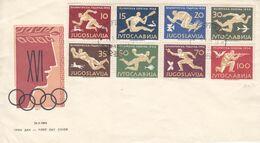 Jeux Olympiques - Yougoslavie - Lettre FDC De 1956 - Oblit Beograd - Tir-canoë-ski-football-waterpolo- Valeur 200 €-rare - Summer 1956: Melbourne
