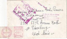 FRANCE 1973 LETTRE DE PARIS POUR ST.PETERSBOURG USA AVEC RETOUR ENVOYEUR - 1969 Montgeron – White Paper – Frama/Satas