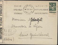 Guerre 39 Censure Bande + Cachet Ouvert Autorité Militaire NA 192 Lyon YT 432 CAD Lodève 7 XII 39 Arrivée St Genis Laval - Guerra De 1939-45
