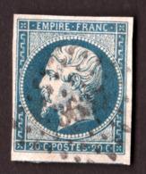 Napoléon III N° 14A Bleu Verdâtre Foncé - Oblitération PC 3637 La Villette (Seine) - 1853-1860 Napoléon III.