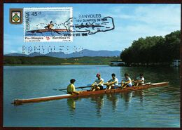 Girostamps.- Juegos Olímpicos Barcelona'92 Tarjeta Máxima Con Perforación De Banyoles'92 - Ete 1992: Barcelone