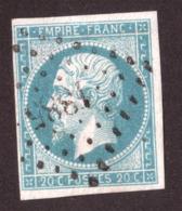 Napoléon III N° 14A Bleu Laiteux Clair Verdâtre - Oblitération PC 1885 Marmande (Lot Et Garonne) - 1853-1860 Napoléon III.
