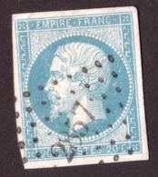 Napoléon III N° 14A Bleu Laiteux Clair - Oblitération PC 2857 Sées (orne) - 1853-1860 Napoléon III.