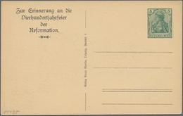 """Thematik: Luther: 1917 Deutsches Reich 5 Pf. Privat-Ganzsachenkarte """"Vierhundertjahrfeier Der Reform - Teologi"""