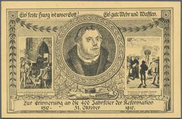 "Thematik: Luther: 1917, Dt. Reich. Privat-Postkarte 2½ Pf Neben 7½ Pf Germania ""Zur Erinnerung An Di - Teologi"
