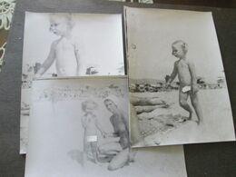 3 PHOTOS,LITTLE GIRL ON A BEACH, PETITE FILLE SUR UNE PLAGE,BIG FORMAT, ORIGINAL PHOTO - Persone Anonimi