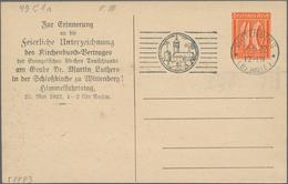"""Thematik: Luther: 1922 Deutsches Reich 40Pf Privatpostkarte """"Zur Erinnerung An Die Feierliche Unterz - Teologi"""