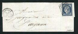 Rare Lettre De Montrichard Pour St Aignan ( Loir & Cher 1851 ) Avec Un N° 4a Bleu Foncé - 1849-1850 Ceres