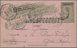 Belgisch-Kongo: 1911 Four Postal Stationery Cards (sender Or Reply Parts Of Double Cards) Sent From - Congo Belge