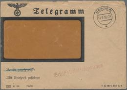 """Deutsche Schiffspost Im Ausland - Seepost: 1938 Farbig Illustr. Schiffsbrieftelegramm """"Norddeich Rad - Allemagne"""